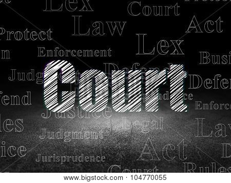 Law concept: Court in grunge dark room