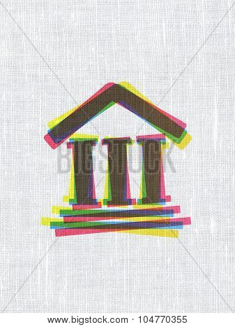 Law concept: Courthouse on fabric texture background