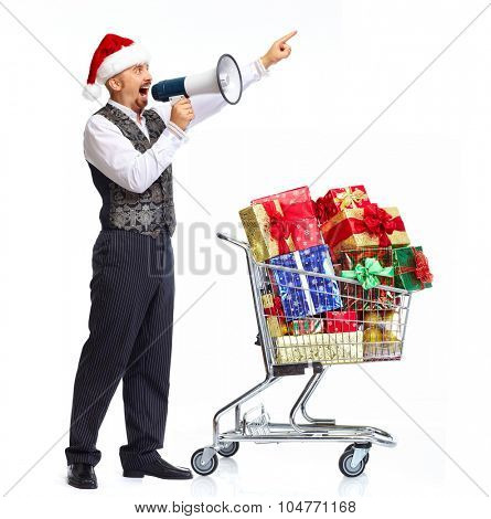 Santa man talking in megaphone isolated on white background.