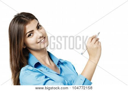 Cheerful Business Woman Showing Blank Area For Sign Or Copyspase, Isolated Over White Background