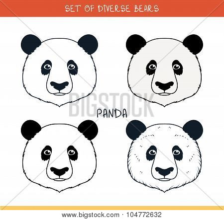 Panda bear. Set isolated face, heads bear in color, lines