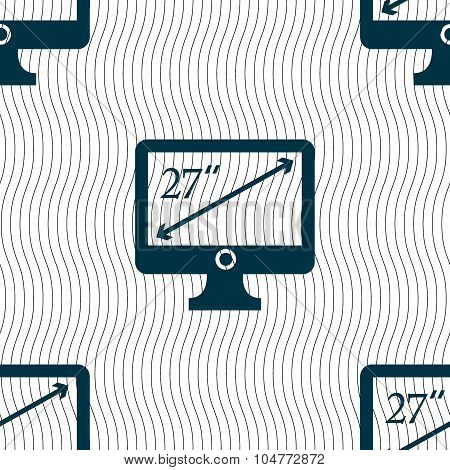 Diagonal Of The Monitor 27 Inches Icon Sign. Seamless Pattern With Geometric Texture. Vector