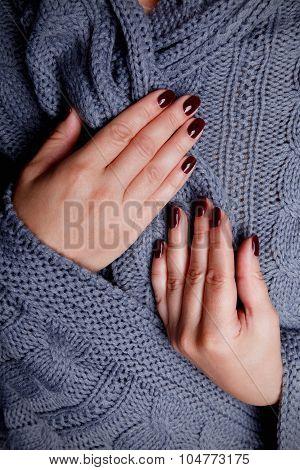 Closeup of elegant nails for autumn