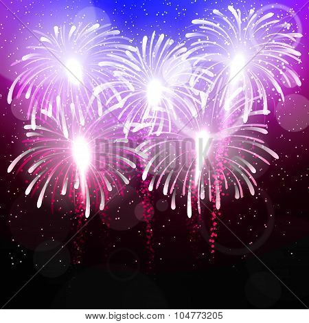 Vector background with salute. Bright color fireworks