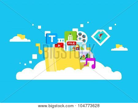 Cloud storage, folder with files of different formats