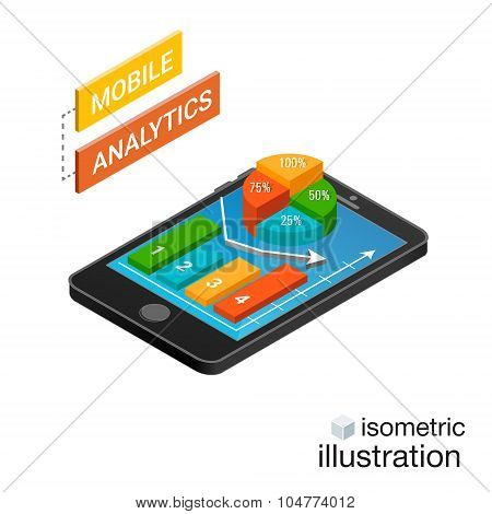 3D Smartphone With Graphs In The Isometric Projection Isolated On A White Background. Mobile Analyti