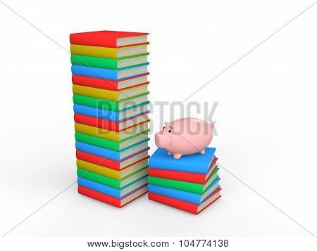 3d books with piggy bank