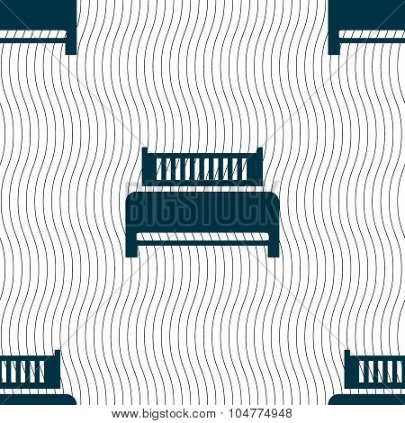 Hotel, Bed Icon Sign. Seamless Pattern With Geometric Texture. Vector