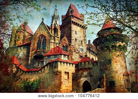 castle from fairy tale - medieval Kreuzenstein in Austria