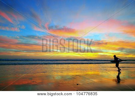 Surfing On Amazing Sunset, Portugal