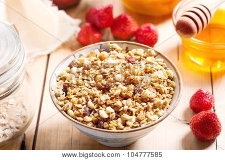 Breakfast With Muesli And Fruits