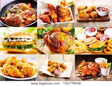 Collage Of Various Chicken Products