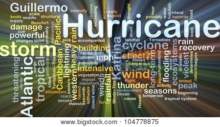 Background concept wordcloud illustration of hurricane glowing light