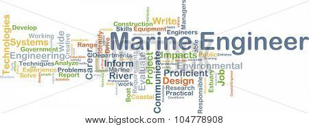 Background concept wordcloud illustration of marine engineer