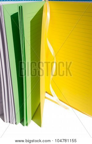 open many-colored notebook