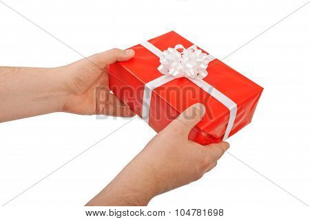 Red Gift Box In His Hands