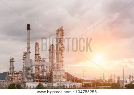 Oil Refinery Factory In The Morning And Sunrise