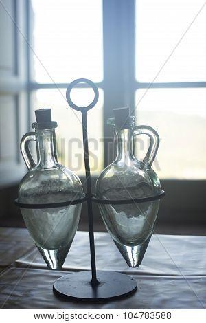 Vintage Manual Oil Vinegar Jars Table Old House