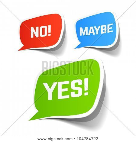 Yes, No and Maybe speech bubbles. Vector.