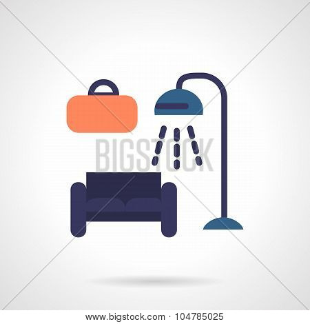 Furniture store flat color vector icon
