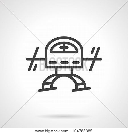 Simple black line copter vector icon