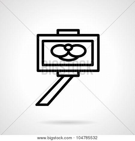 Simple line selfie stick vector icon