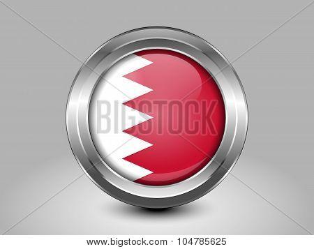 Flag Of Bahrain. Metal Round Icon