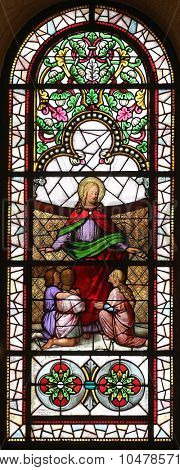 ZAGREB, CROATIA - NOVEMBER 08: Jesus friend of children stained glass window in the Church of St. Vincent de Paul in Zagreb, Croatia on November 08, 2014