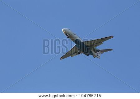 ZAGREB, CROATIA - JUNE 10: Fokker F70, registration OE-LFJ of Austrian Airlines landing on Zagreb Airport Pleso on June 10, 2015.