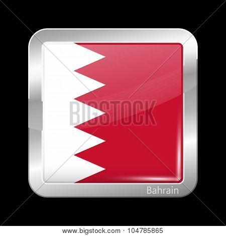 Flag Of Bahrain. Metalic Icon Square Shape