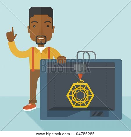 An african-american man standing with 3D printer and a raised hand vector flat design illustration isolated on blue background. Square layout.