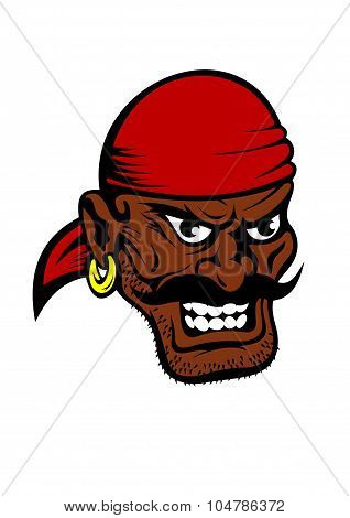 Fierce dark-skinned cartoon pirate character