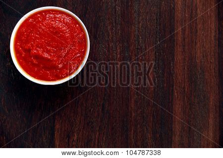 Italian Marinara Sauce On Wooden Background