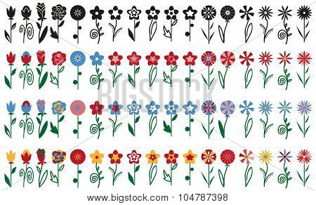Flowers On Stalks Icons