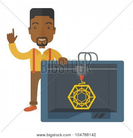 An african-american man standing with 3D printer and a raised hand vector flat design illustration isolated on white background. Square layout.