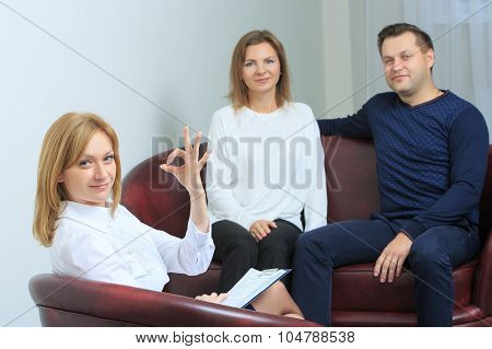 happy couple therapy session is held at the psychologist