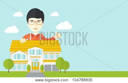 An asian real estate agent wearing glasses standing behind the house with thumbs up vector flat design illustration. Horizontal layout with a text space.