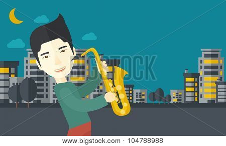 An asian musician playing saxophone in the streets at night vector flat design illustration. Horizontal layout with a text space.