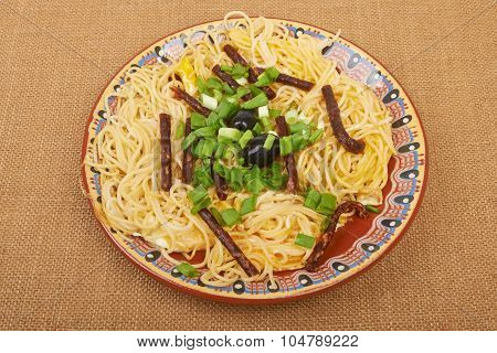 Spaghetti Sausage On Sacking