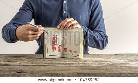 Businessman showing his notebook with falling financial graphs colored in red showing decrease in profit and income.