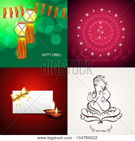 vector collection of beautiful background of diwali with lord ganesha illustration