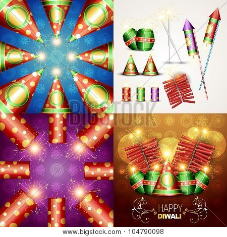 vector collection of beautiful diwali background and diwali crackers illustration