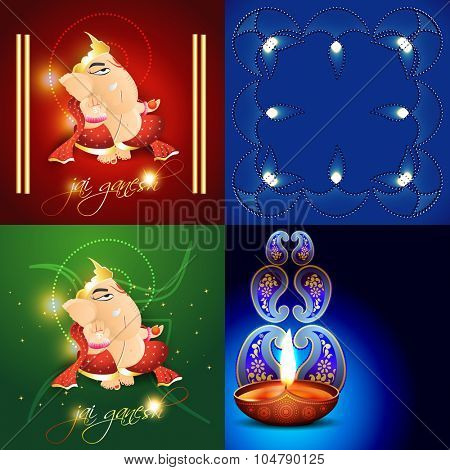 vector set of beautiful different design diwali  background illustration with lord ganesha