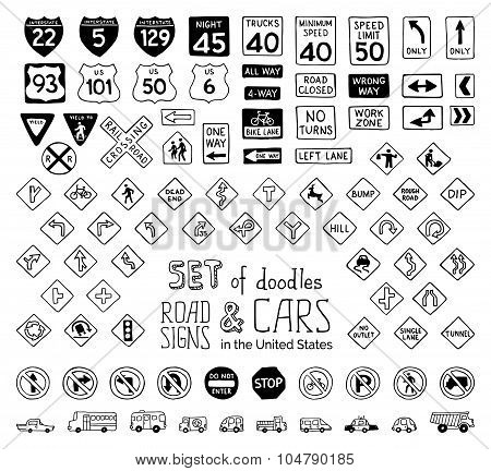 Vector Set Of Doodles Road Signs In The United States And Cars.