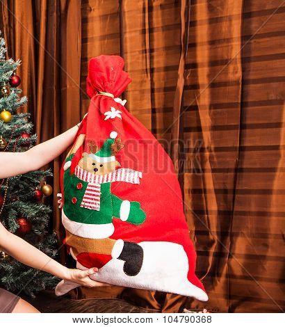 Santa Claus red bag full