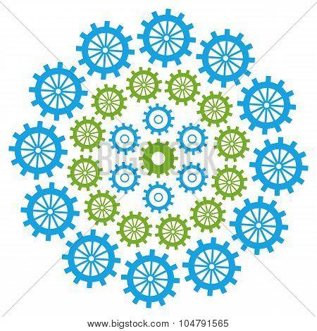 Gears Circular Green Blue