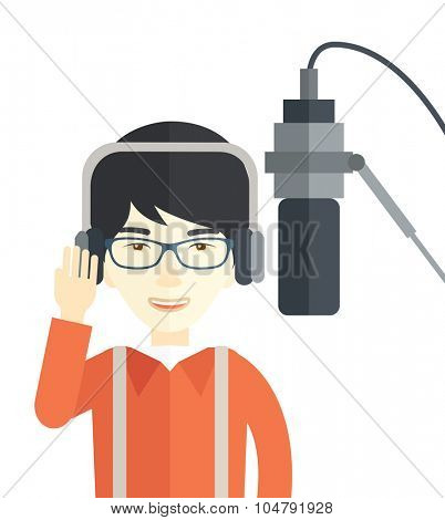 Cheerful Asian radio DJ wearing glasses with headphone and microphone vector flat design illustration isolated on white background. Vertical layout.