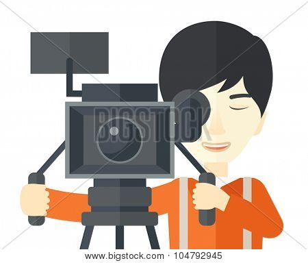 An Asian cameraman looking through movie camera on a tripod vector flat design illustration isolated on white background. Horizontal layout.