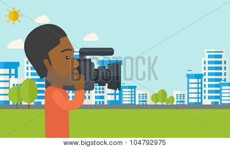 An african-american hipster cameraman with video camera taking a video with buildings around vector flat design illustration. Horizontal layout with a text space.