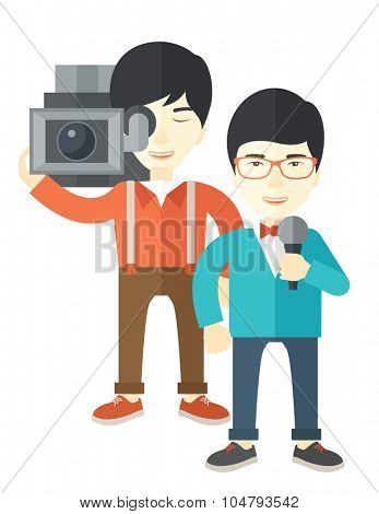 An Asian cameraman filming a reporter vector flat design illustration isolated on white background. Vertical layout.